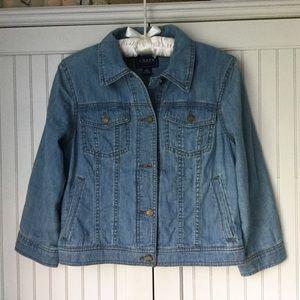 EUC CHAPS Cotton Crop Denim Jacket